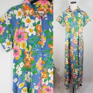 VINTAGE 🌼 Floral Maxi Length Zip Up House Dress